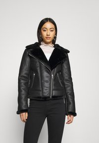 Missguided - AVIATOR - Faux leather jacket - black - 0