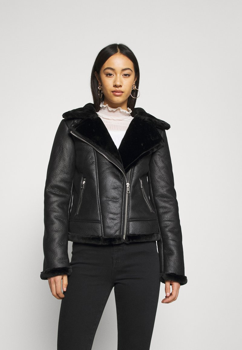 Missguided - AVIATOR - Faux leather jacket - black