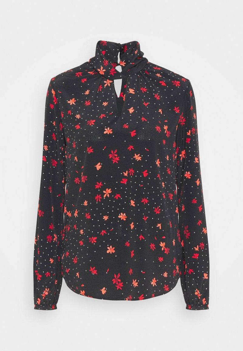 Wallis - STAR FLOWER TWIST NECK - Blouse - black