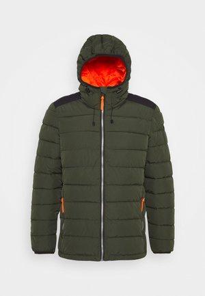 MAN JACKET FIX HOOD - Down jacket - oil green