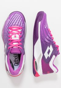 Lotto - MIRAGE 100 CLY - Clay court tennis shoes - purple willow/all white/funky pink - 1