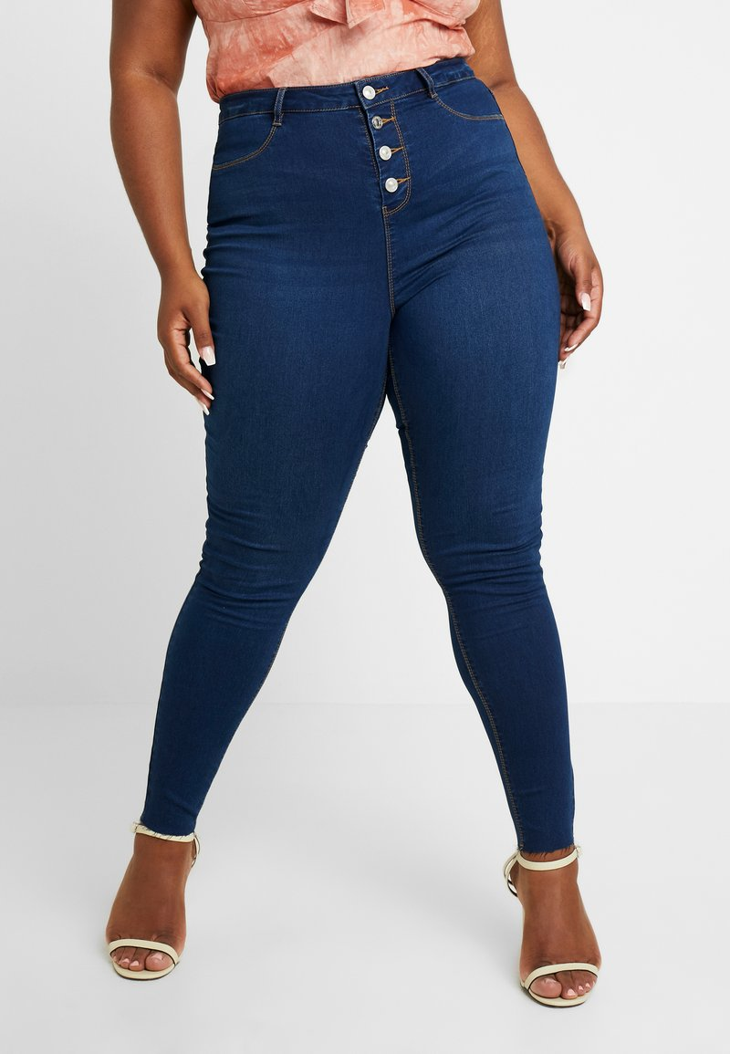 Missguided Plus - BUTTON FRONT LAWLESS - Jeans Skinny Fit - deep blue