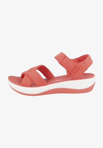 ARLA GRACIE - Platform sandals - bright coral textile