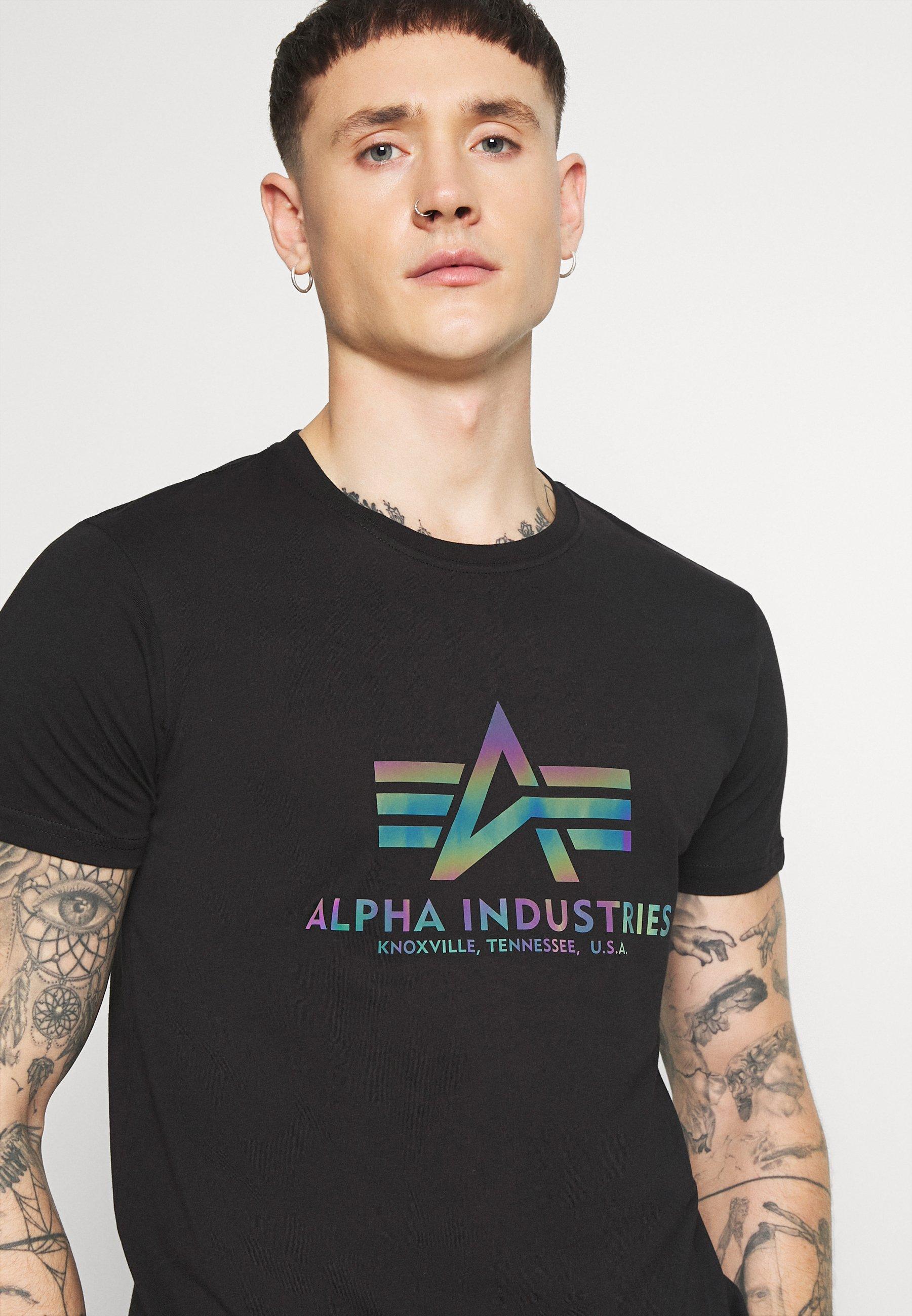 Alpha Industries BASIC - Print T-shirt - black 7vwBa