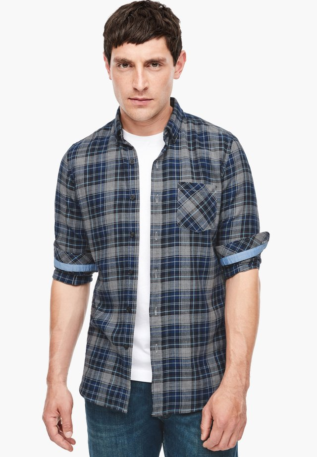 MIT KAROS - Shirt - grey/dark blue check