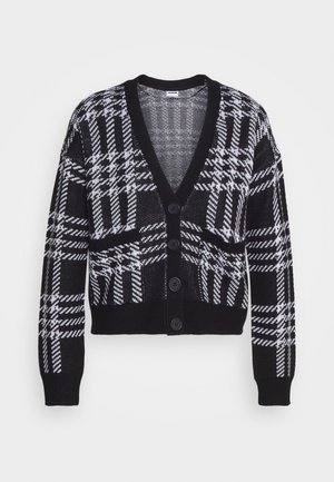 NMSQUARE OPEN CARDIGAN PET - Cardigan - black/white