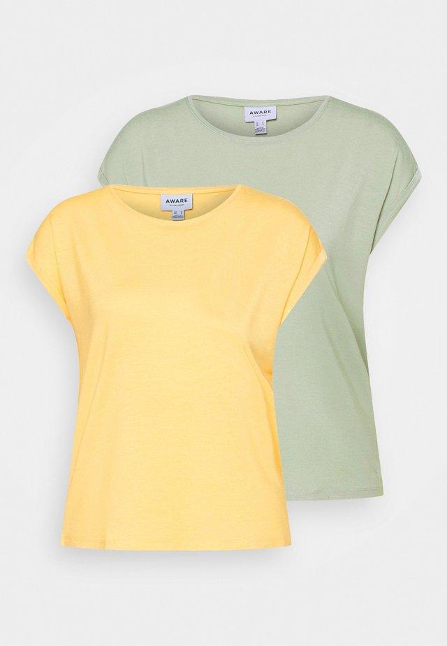 VMAVA PLAIN 2PACK - Basic T-shirt - desert sage/cornsilk