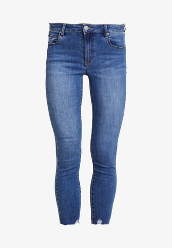 MID RISE CROPPED - Jeans Skinny Fit - mid blue chewed hem
