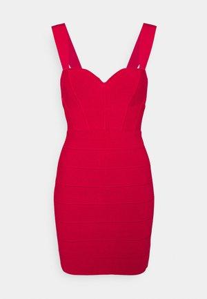 HERVE LEGER X JULIA RESTOIN ROITFELD SWEETHEART CORSET MINI DRESS - Shift dress - rio red