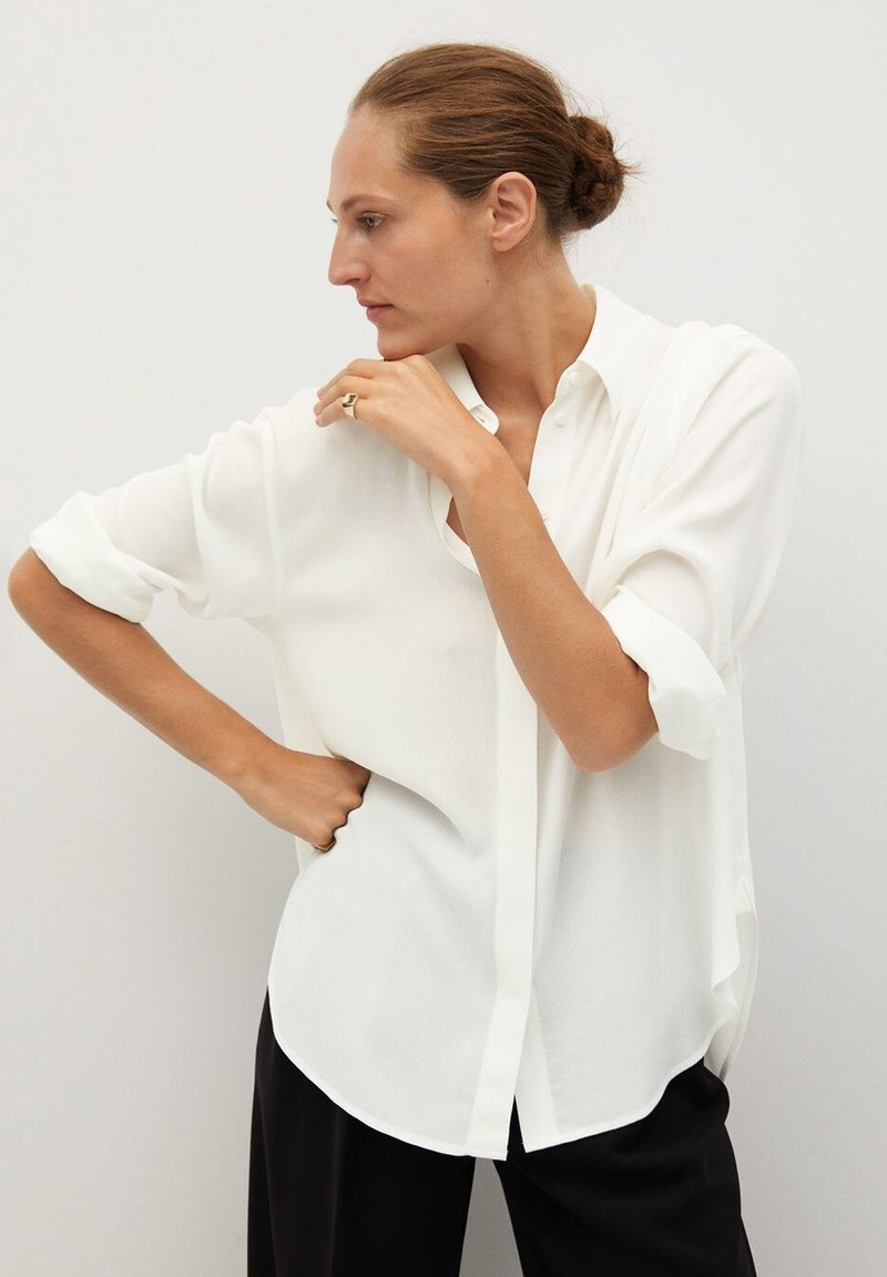 Mango - BASS - Button-down blouse - šedobílá