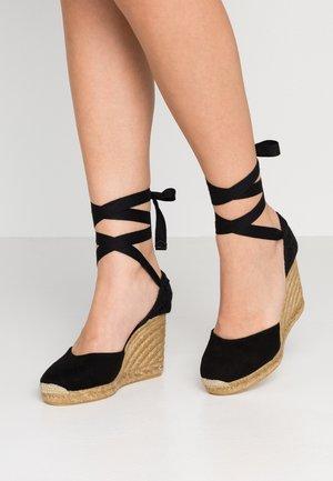 MUSCHETT - Wedge sandals - black