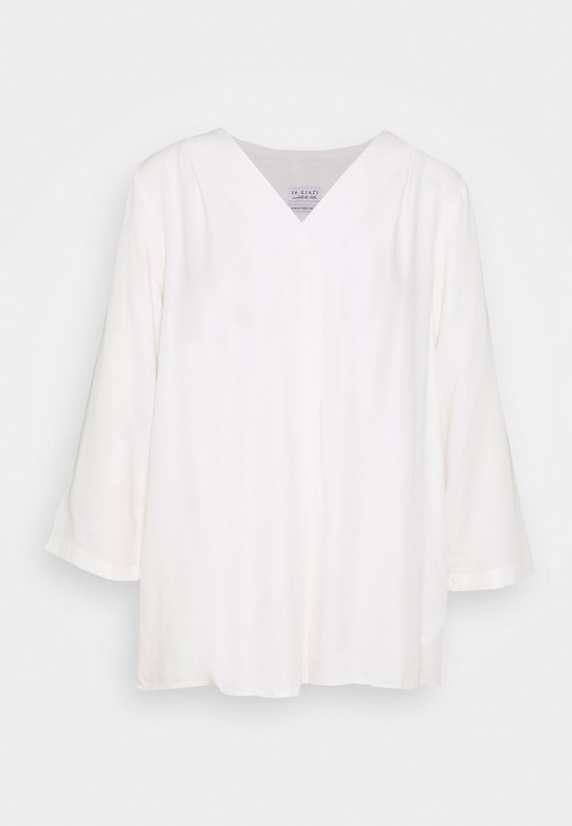 BLOUSE WITH PLEAT - Blusa - white