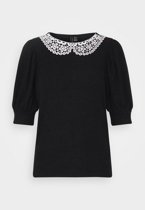 VMTAMIRA COLLAR - T-shirt imprimé - black/snow white