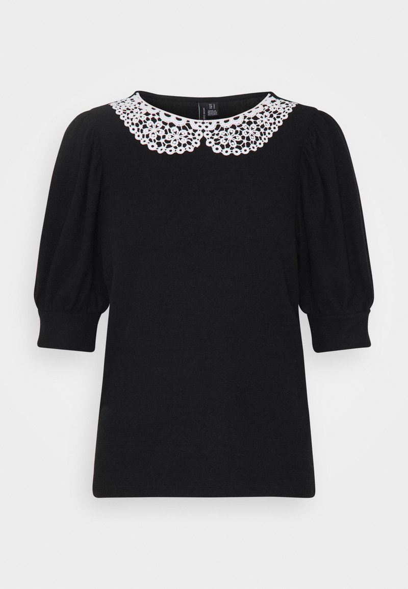 Vero Moda - VMTAMIRA COLLAR - T-shirt con stampa - black/snow white