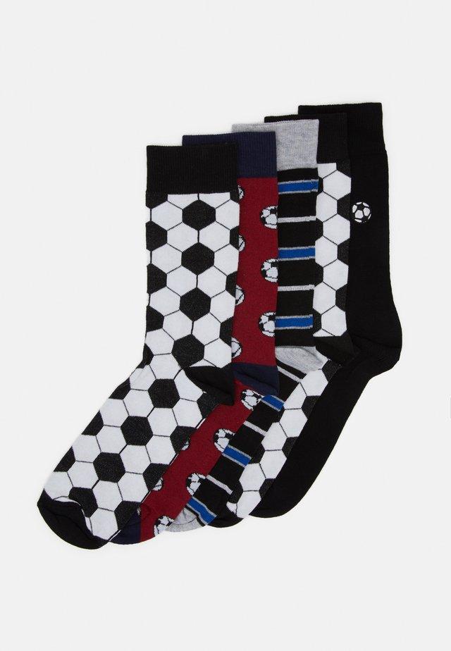 FOOTBALL DESIGN 5 PACK - Ponožky - black