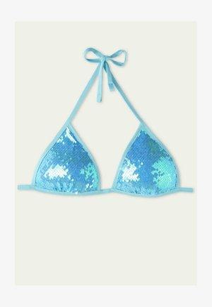 MIT HELLBLAUEN PAILLETTEN - Bikini top - azzurro iridescente