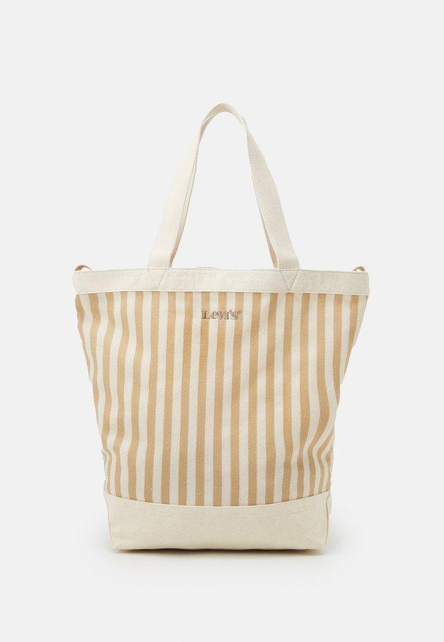 WOMEN'S STRIPED SHOPPER - Velká kabelka - light beige