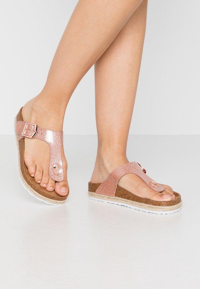 WIDE FIT FLEETWOOD - T-bar sandals - rose gold