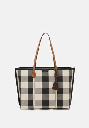 PERRY GINGHAM TRIPLE COMPARTMENT - Shopping bag - black/new ivory