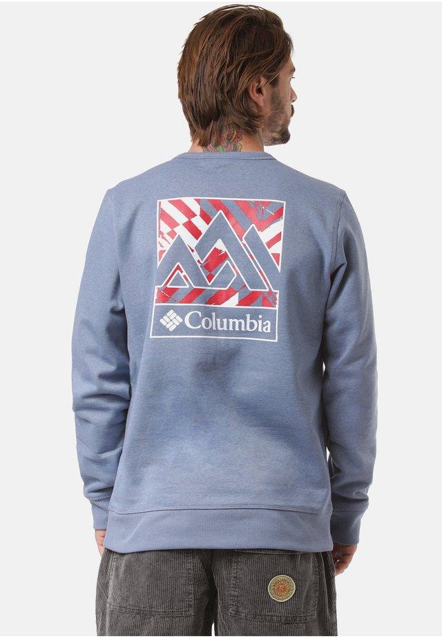 Sweater - bluestone heather block print