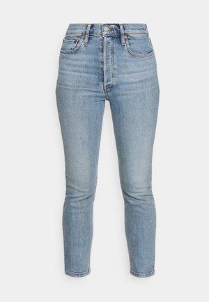 HIGH RISE ANKLE CROP - Džíny Slim Fit - light blue