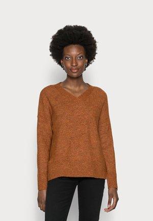 COZY V NECK - Jersey de punto - amber brown melange