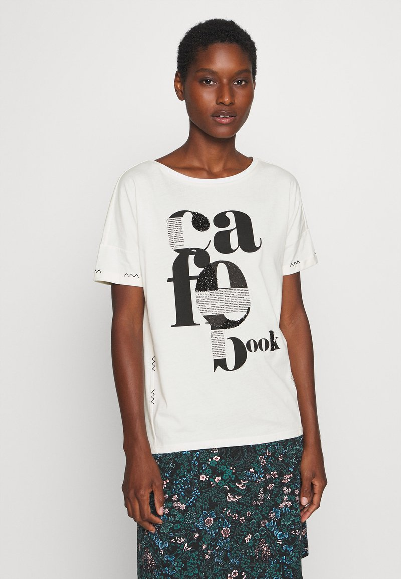 comma casual identity - KURZARM - Print T-shirt - off-white