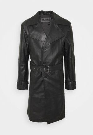 CHRISTIAN LEATHER COAT - Leather jacket - black