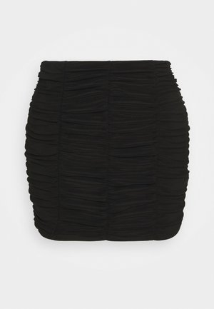 PLAIN RUCHED MINI SKIRT - Minigonna - black