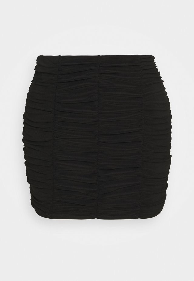 PLAIN RUCHED MINI SKIRT - Spódnica mini - black