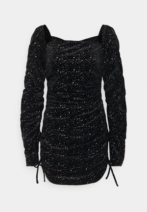 COSTELLO TIE SLEEVE RUCHED GLITTER DRESS - Day dress - black