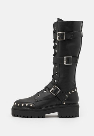 ASTEROID KNEE HIGH CHUNKY LACE UP - Botas con cordones - black