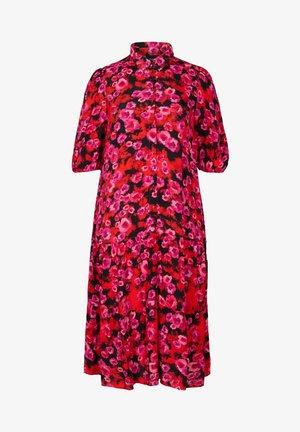 Maxi dress - red flower aop
