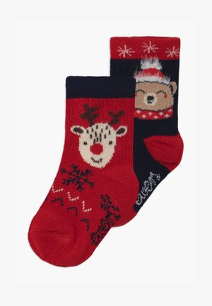 CHRISTMAS REINDEER/BAER 2 PACK UNISEX - Chaussettes - rot/marine