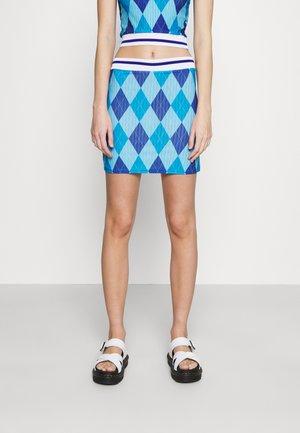 ARGYL SKIRT - Mini skirt - blue