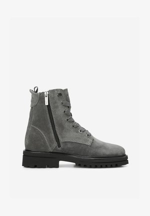 Lace-up ankle boots - light grey