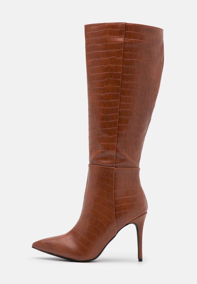 PRESIDENT - High heeled boots - cognac