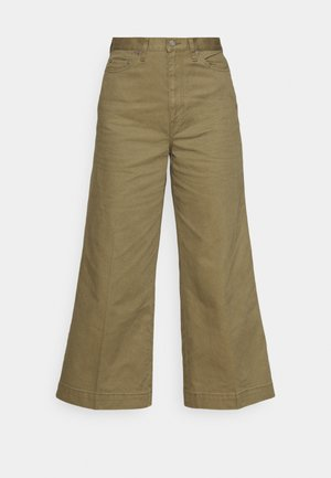 CROPPED FLAT FRONT - Trousers - basic olive