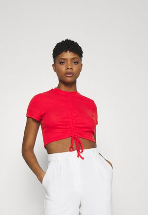 RUCHED SEAM SHORT SLEEVE - Print T-shirt - red