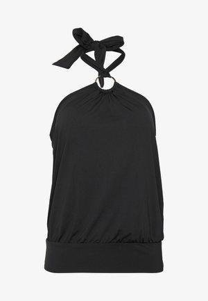 ICONIC SOLIDS BLOUSON HALTER TANKINI - Bikini top - black