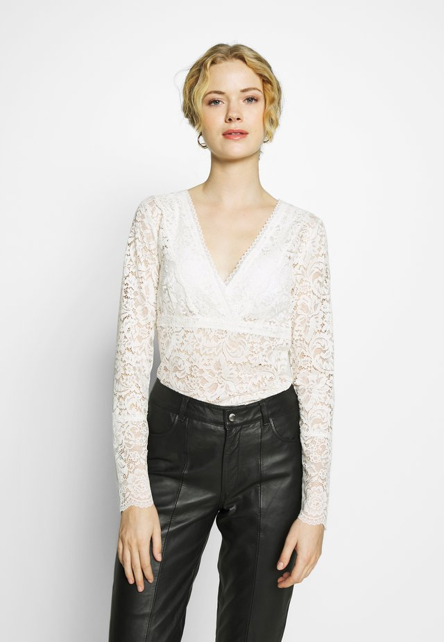 SILK-MIX T-SHIRT REGULAR LS W/LACE - Blus - ivory