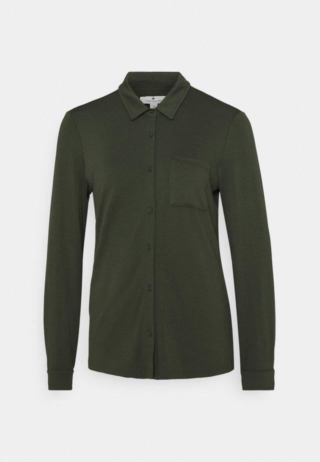 Button-down blouse - dark rosin green