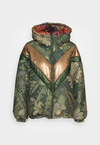 Farm Rio - GREEN COOL LEOPARD REVERSIBLE PUFFER JACKET - Winter jacket - mottled olive - 4