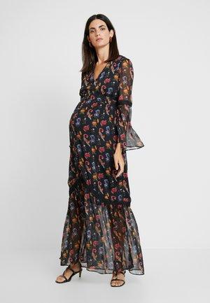 LONG SLEEVE V NECK FLORAL MAXI DRESS - Maxi dress - black