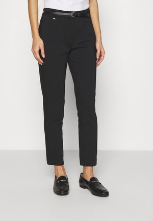 BELTED DOUBLE FACE CIGARETTE - Trousers - black