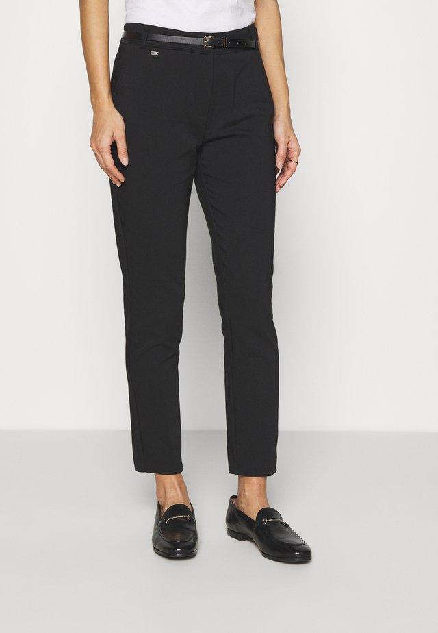 BELTED DOUBLE FACE CIGARETTE - Pantaloni - black
