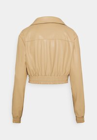 NA-KD - BELTED CROPPED JACKET - Faux leather jacket - beige - 1