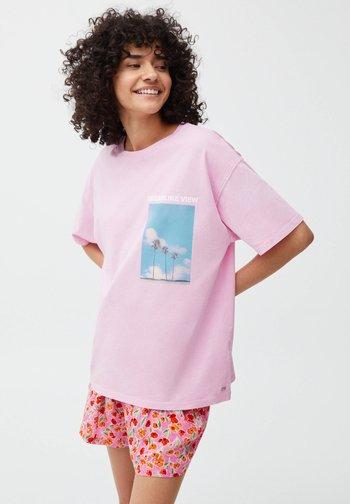 Print T-shirt - mottled light pink