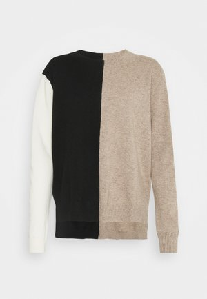 SOFT SWEATER - Jumper - black/smoke/cream