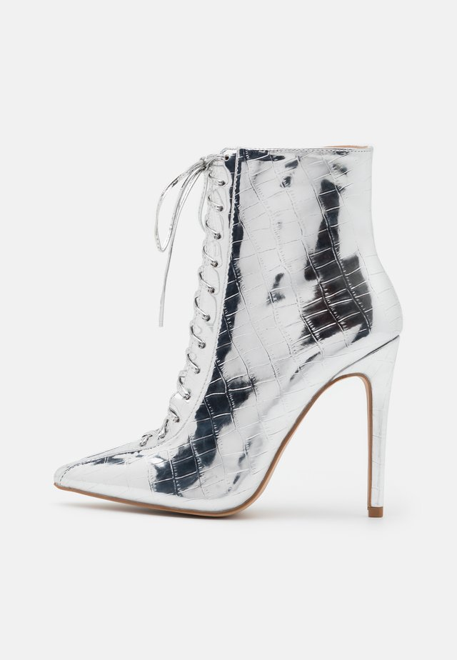 SAVIOUR - High heeled ankle boots - silver